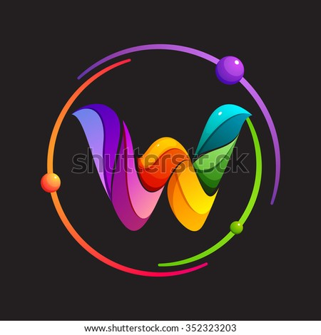 W letter logo with atomic or space orbits. Abstract trendy multicolored vector design template elements for your application or corporate identity. - stock vector