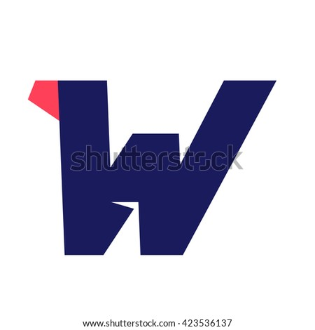 W letter run logo design template. Vector sport style typeface for sportswear, sports club, app icon, corporate identity, labels or posters. - stock vector