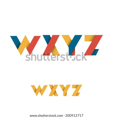 W X Y Z Modern Colored Layered Font or Alphabet - Vector Illustration - stock vector