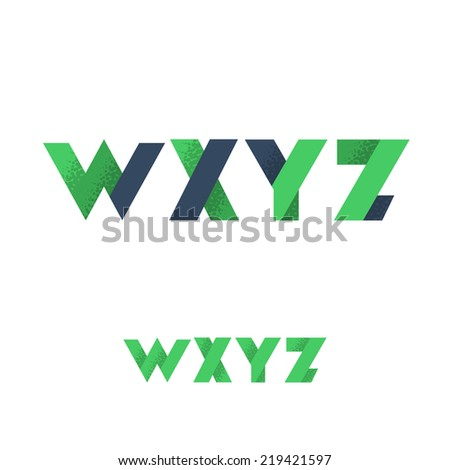 W X Y Z Modern Flat Alphabet with Noise Shadow - Vector Illustration - stock vector