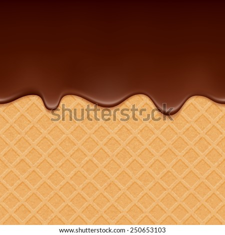 Wafer and flowing chocolate - vector background. Sweet texture. Soft icing. - stock vector