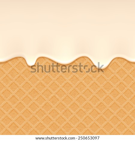 Wafer and flowing white chocolate, cream or yogurt - vector background. Sweet texture. Soft icing. - stock vector