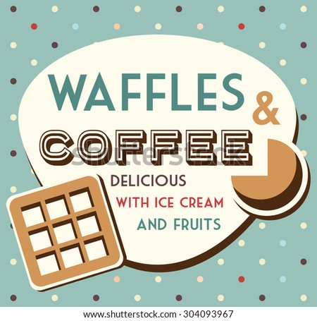 waffles and coffee - stock vector