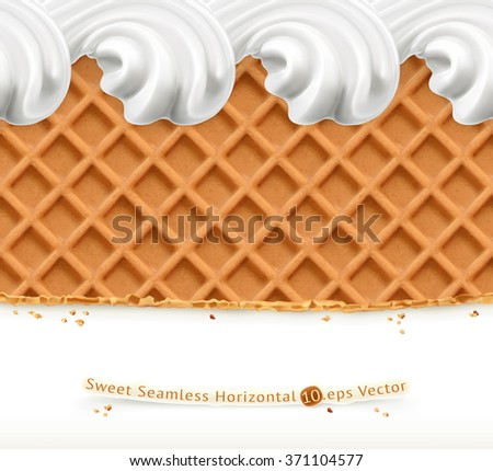 Waffles and ice cream, horizontal seamless vector pattern - stock vector