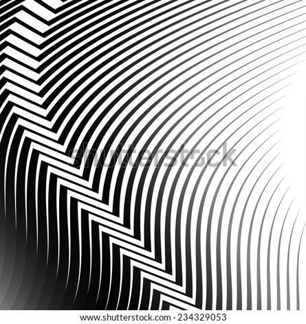Waing lines with crease - stock vector