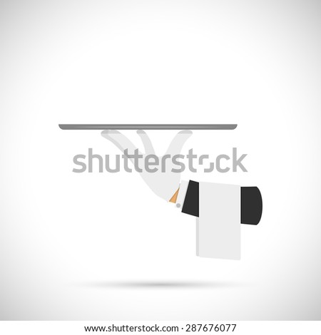 Waiter hand with tray and towel vector illustration. - stock vector