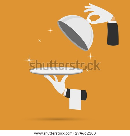 Waiter hands with cloche lid cover and towel vector illustration. - stock vector