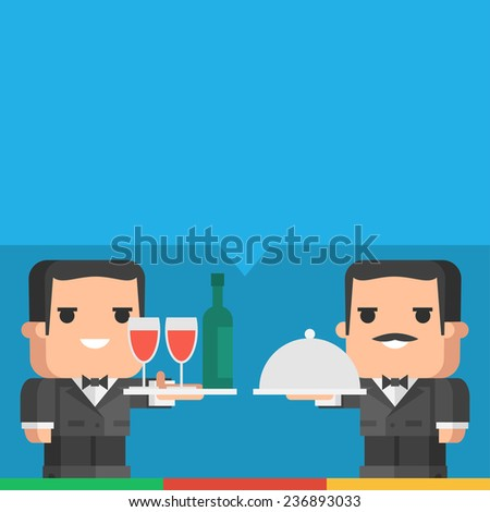 Waiter holding tray of drinks and meal - stock vector