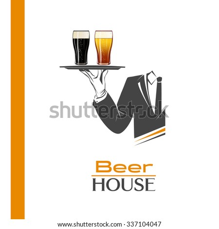 Waiter holds a tray with two pints of cold beer vector isolated. Classic banner or logo for restaurants, cafes or any bar and pub. Beer house sign. Perfect design for pub menu. Brewery poster. - stock vector