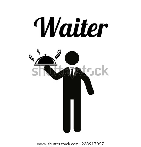 waiter illustration over white color background - stock vector