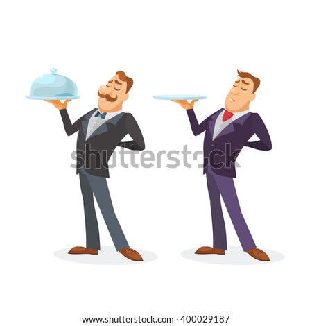 Waiter in a bow-tie serving a dish in a silver platter with lid - stock vector