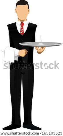 waiter in the restaurant - stock vector