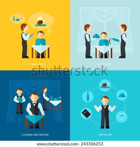 Waiter man job design concept with customer order vip service cleaning and serving icon flat set isolated vector illustration - stock vector