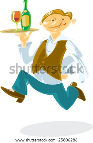 Waiter, running with wine on tray in his hand. Fun cartoon style. Vector illustration. - stock vector
