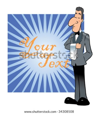 waiter standing - stock vector