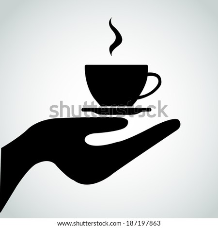 Waiter with a cup of coffee - stock vector
