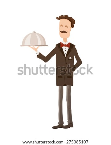 Waiter With Dish - stock vector
