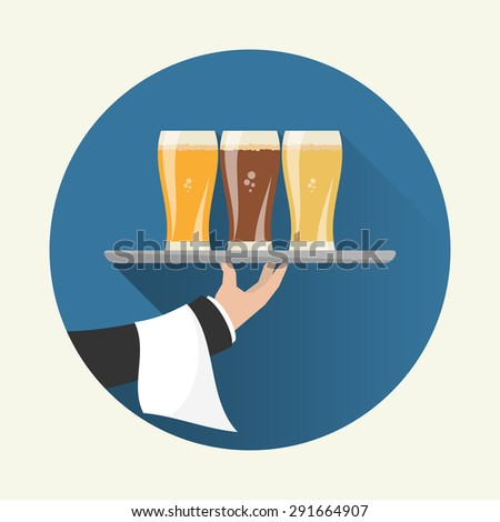 Waiter with three glasses of beer and tray on outstretched arm. Foods Service icon with long shadow. Simple flat vector. - stock vector