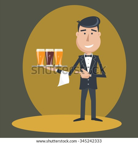 Waiter with three glasses of beer and tray on outstretched arm. Invitation to have a beer. Foods Service . Simple flat vector.EPS 10. - stock vector