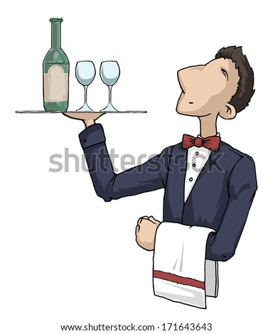 waiter with vine and glasses on a tray, vector illustration - stock vector