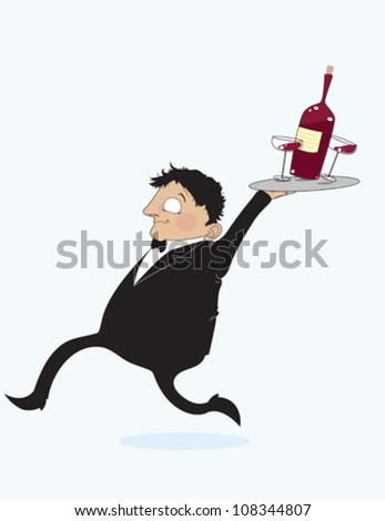 Waiter WIth Wine - stock vector