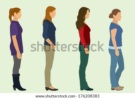 Waiting in Line - stock vector