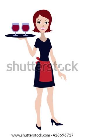 waitress isolated on white. Flat waitress isolated on white. Waitress with the tray. Waitress with wine. Young waitress, Girl in uniform, Cartoon waitress, cartoon girl. Beautiful waitress, service - stock vector