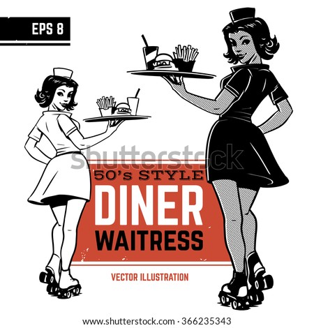 waitress on roller skates. drive-in waitress. 50's diner waitress - stock vector