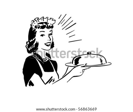 Waitress With Covered Server - Retro Clip Art - stock vector