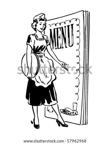 Waitress With Menu Behind - Retro Clip Art - stock vector