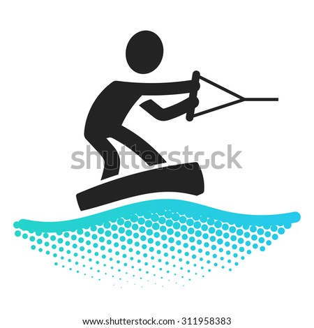 Wakeboarding icon pictograms symbol  - stock vector