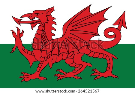 Wales coat of arms, seal, national emblem, isolated on white background. Vector Coat of arms of Wales, Original and simple Wales coat of arms in official colors and Proportion Correctly.   - stock vector