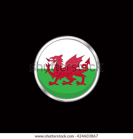 Wales flag isolated on black background. Wales, Cymru flag button in silver ring. Euro cup 2016 France. Wales participant, group B. Euro 2016 football championship. Eurocup, euro cup, fifa world cup - stock vector