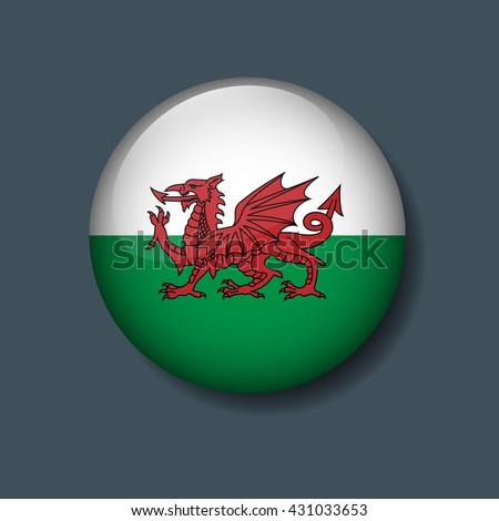 Wales Flag on Button, Logo Euro 2016 Soccer, Football team concept  - stock vector