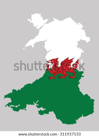 Wales, UK, high detailed silhouette illustration isolated on background. Wales coat of arms, seal, national emblem, isolated.  - stock vector
