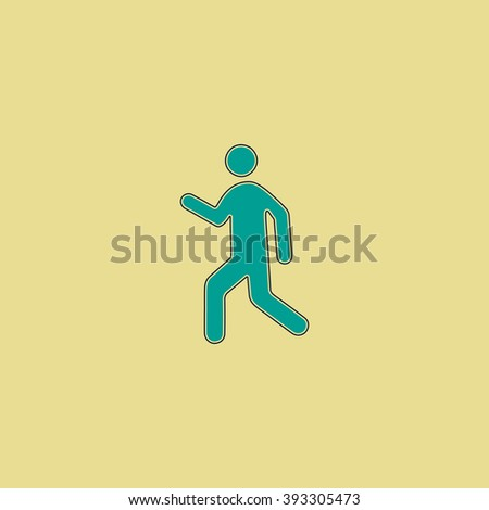 walk Flat line icon on yellow background. Vector pictogram with stroke - stock vector