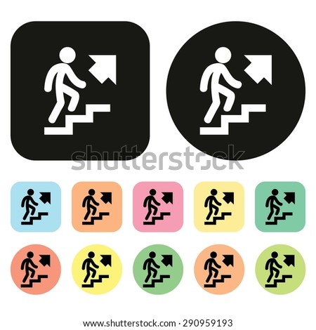 Walk Up Stairs icon. Vector - stock vector