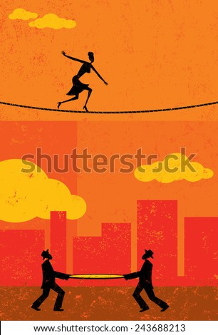 Walking a Tightrope A retro businesswoman walking a tightrope with two men and a safety net underneath in case she falls. The people & rope and background are on separate labeled layers. - stock vector