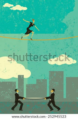 Walking a Tightrope A retro businesswoman walking a tightrope with two men and a safety net underneath in case she falls. - stock vector