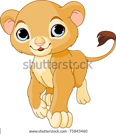 Walking cute Lion Cub of a white background - stock vector
