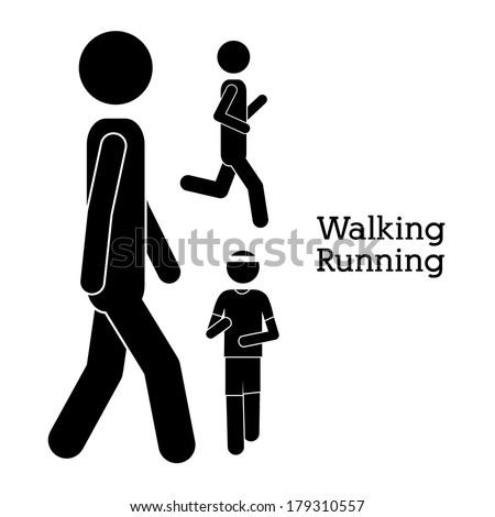 walking design over white background vector illustration - stock vector