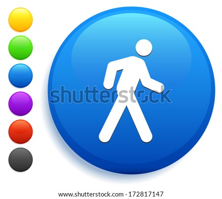 Walking Icon on Round Button Collection - stock vector