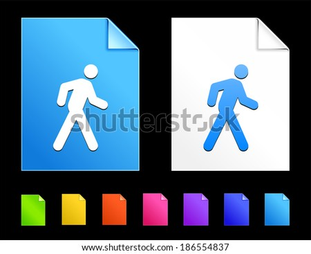 Walking Icons on Colorful Paper Document Collection - stock vector