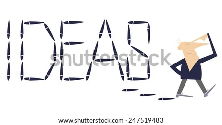 Walking man thinks and leaves the word Ideas by footprints behind himself - stock vector