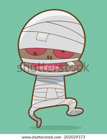Walking Mummy Halloween Monster Cartoon Vector Illustration - stock vector