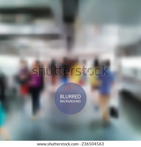 Walking People in Hong Kong - Blurred Image Background - stock vector