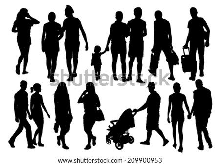 Walking People Silhouettes Set - stock vector