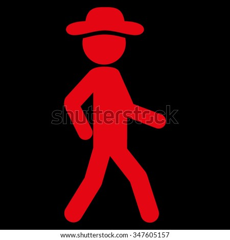 Walking Person vector icon. Style is flat symbol, red color, rounded angles, black background. - stock vector