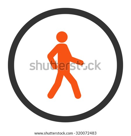 Walking vector icon. This rounded flat symbol is drawn with orange and gray colors on a white background. - stock vector