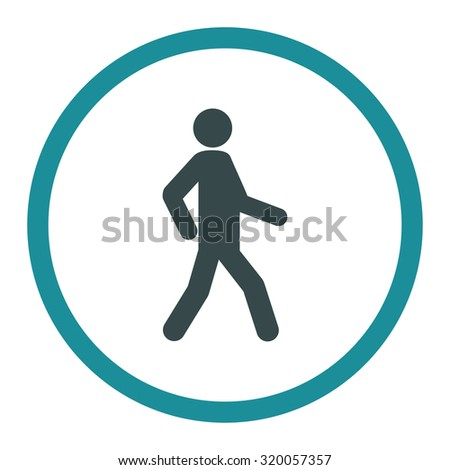 Walking vector icon. This rounded flat symbol is drawn with soft blue colors on a white background. - stock vector